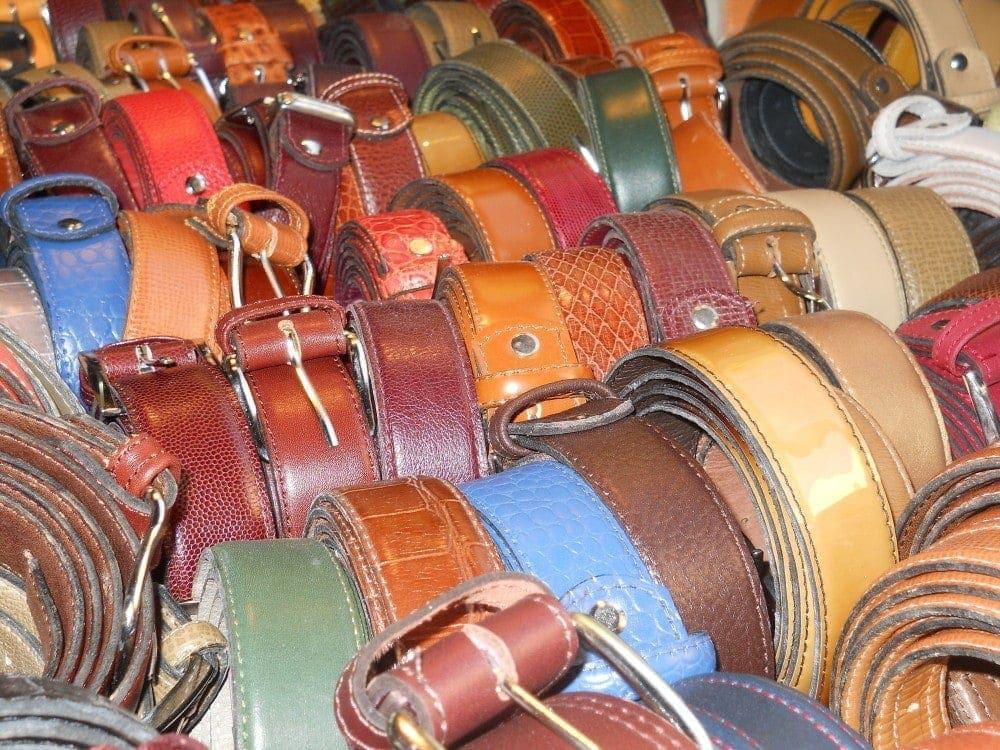 Belts at l'Ensemble Artisanal in Marrakech