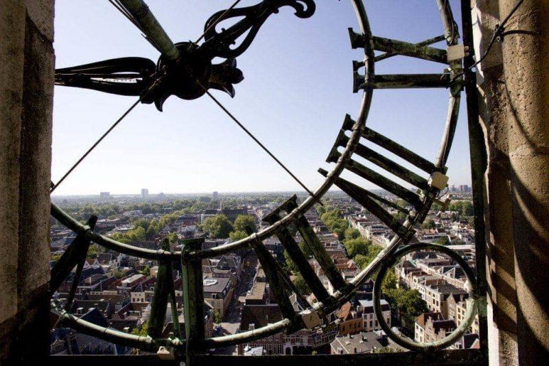 View of Utrecht from behind clock