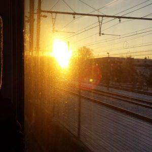 Sunset through the train window