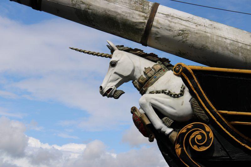 HMS Unicorn close up of unicorn figurehead