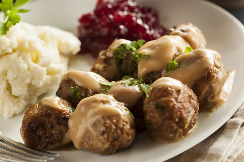 Traditional Swedish food Meatballs with Cream Sauce