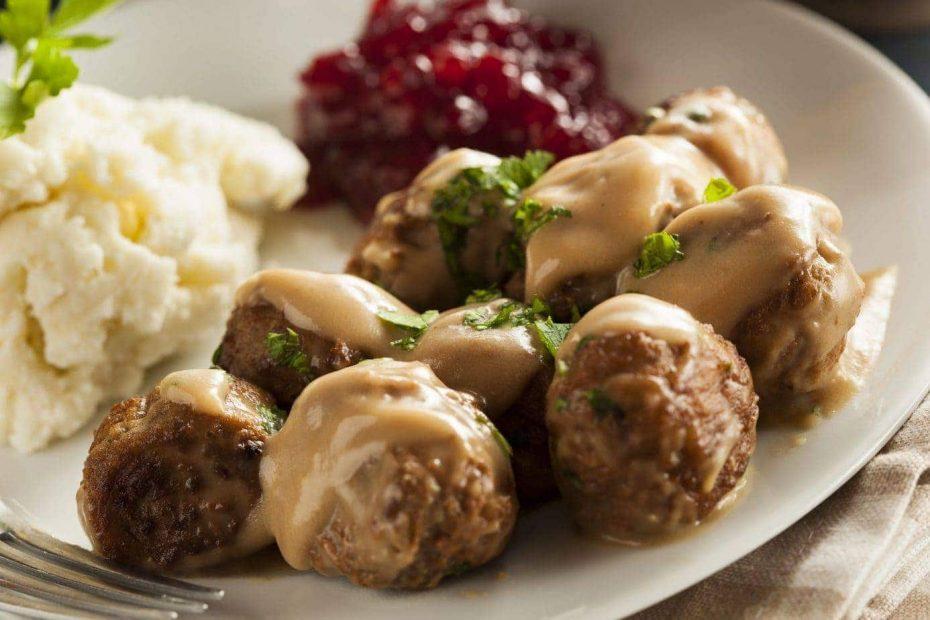 Traditional Swedish food Meatballs with Cream Sauce