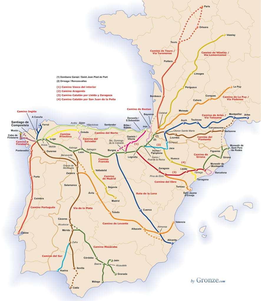 Camino de Santiago Routes