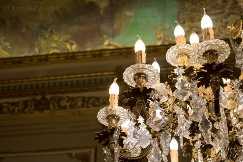 Close up of an ornate glass chandelier