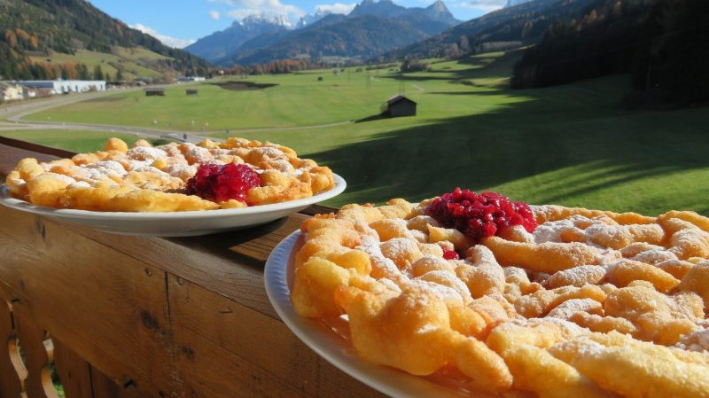 Strauben Tyrolean pancake with mountains in the background