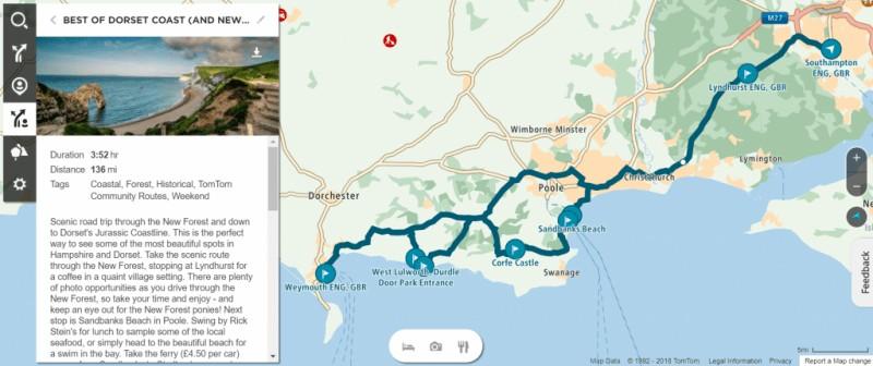 dorset coast road trip map