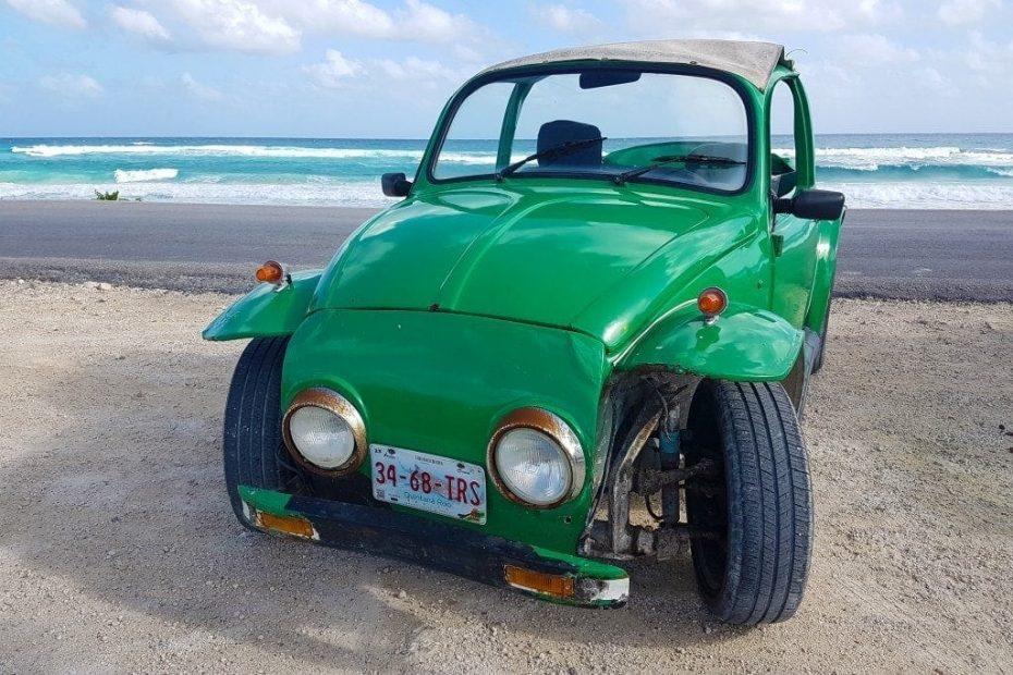 green convertible car cozumel