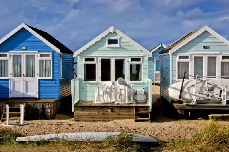 Beach huts at mudeford sandbank in Dorset