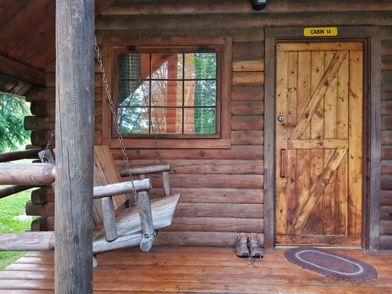 cabin at KOA campsite in PA on Trek America tour