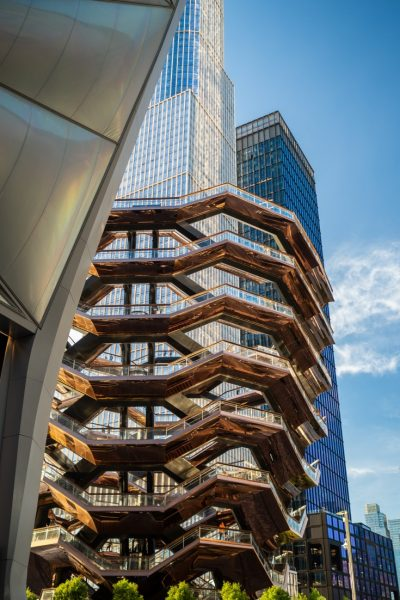 The Vessel NYC copper coloured building