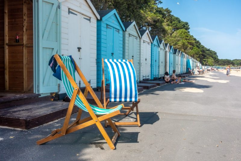 Beach huts and deckchair at Mudeford