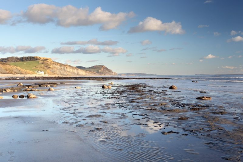charmouth beach at low tide