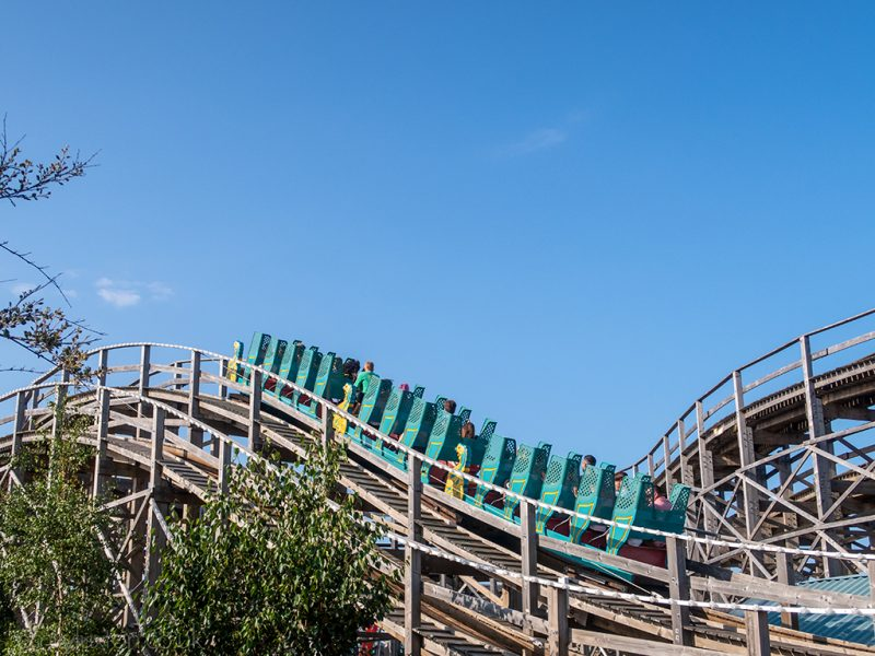 Wooden rollercoaster at a funfair