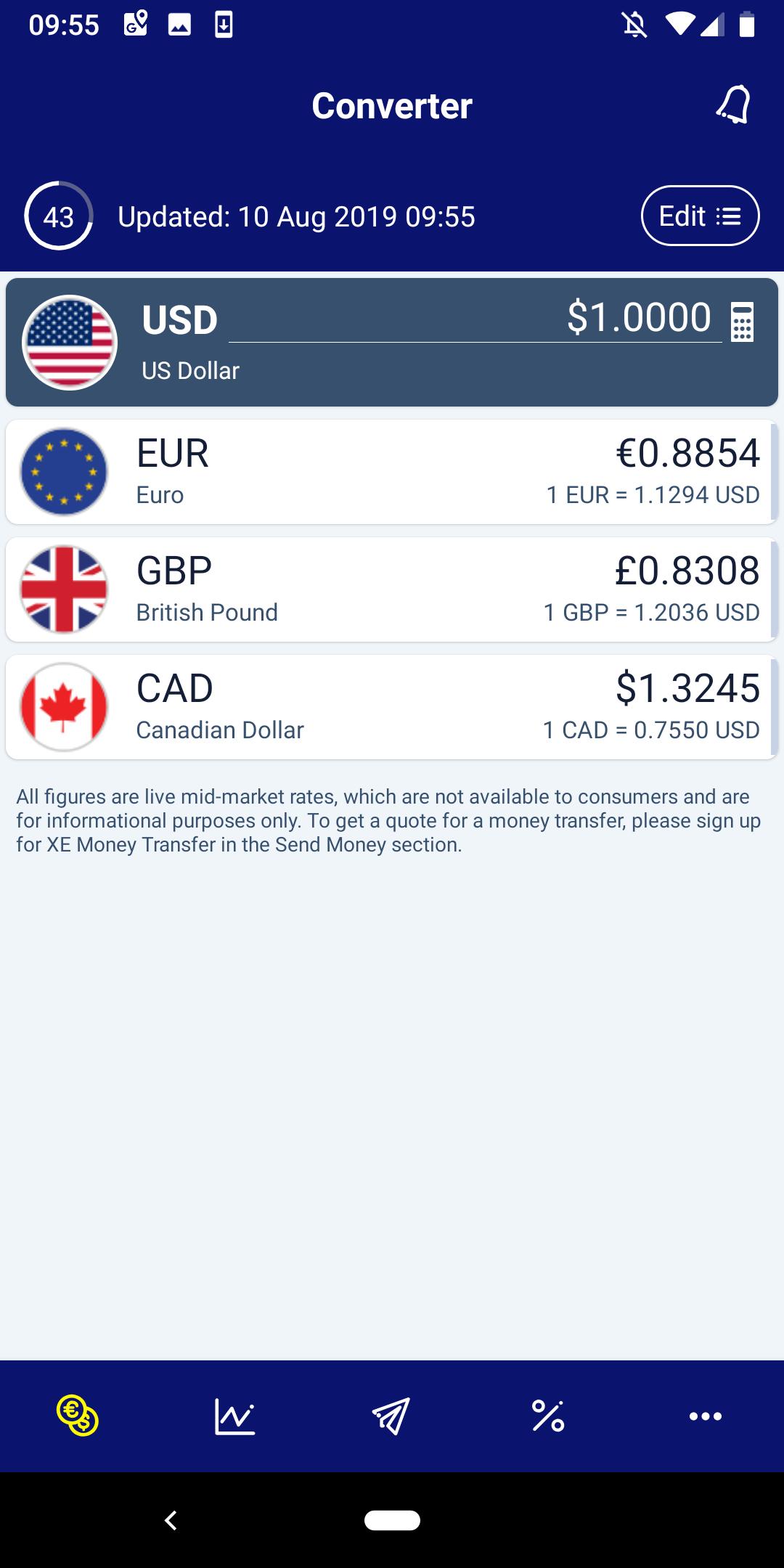 Screenshot of XE Currency App