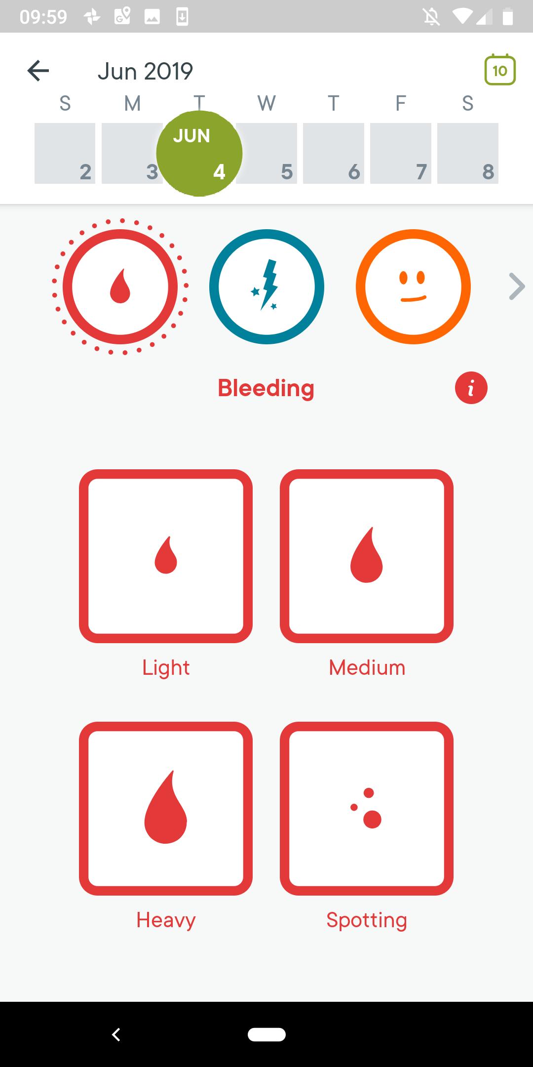 screenshot of Clue period App