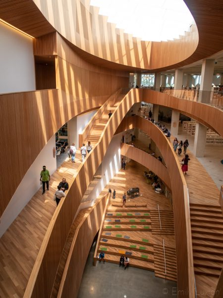 Interconnecting wooden staircase inside Calgary library