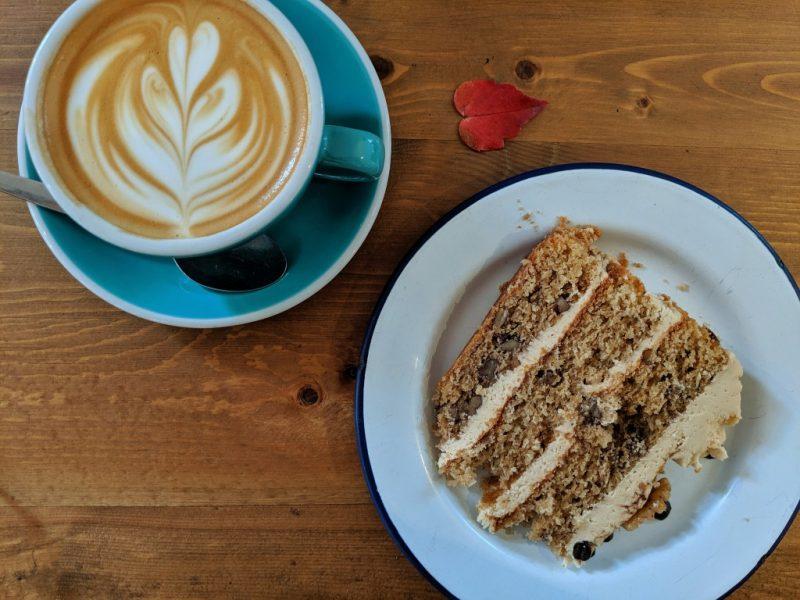 coffee and cake flat lay