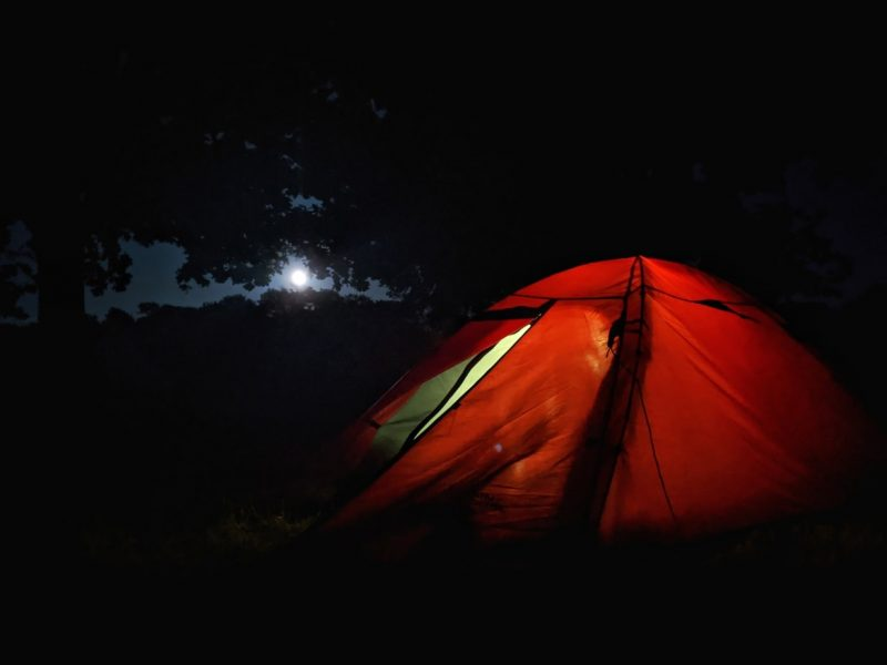 Moon rising over tent south downs camping