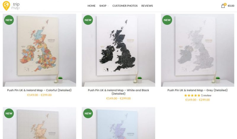 UK and Ireland Push Pin Maps from Trip Map