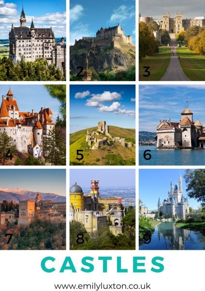 Photos of famous castles for a trivia night