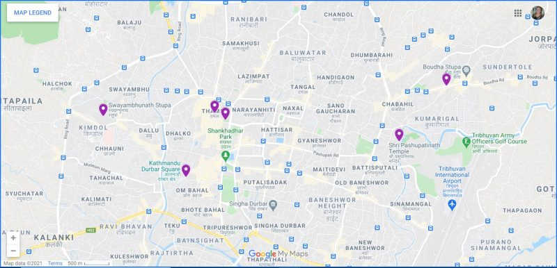 Map of Places to Visit in Kathmandu Nepal
