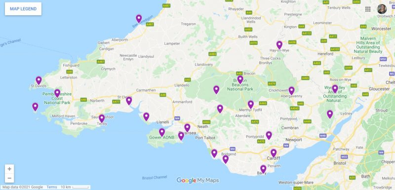 Map of places to visit in South Wales