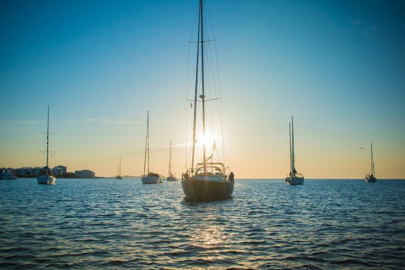 yachts at sunset in ibiza