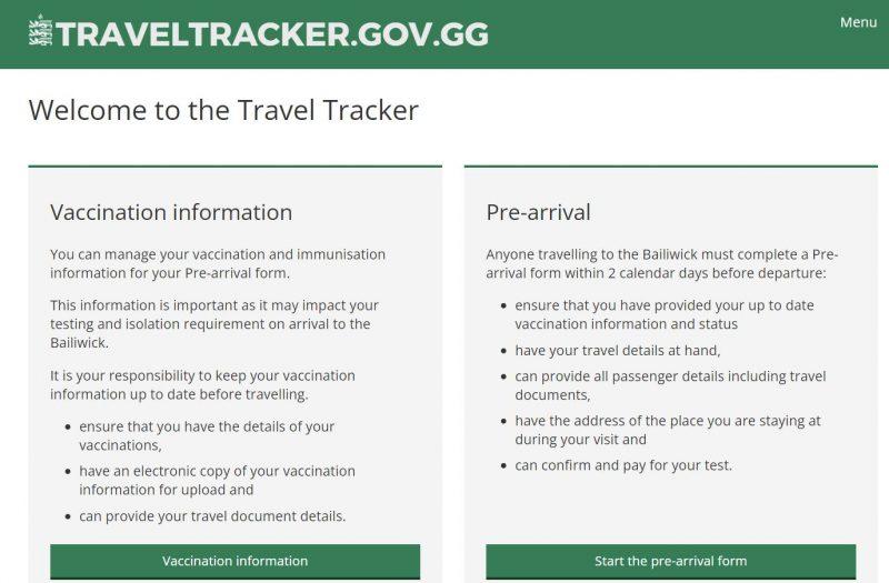 Guernsey Travel Tracker Screenshot of Form