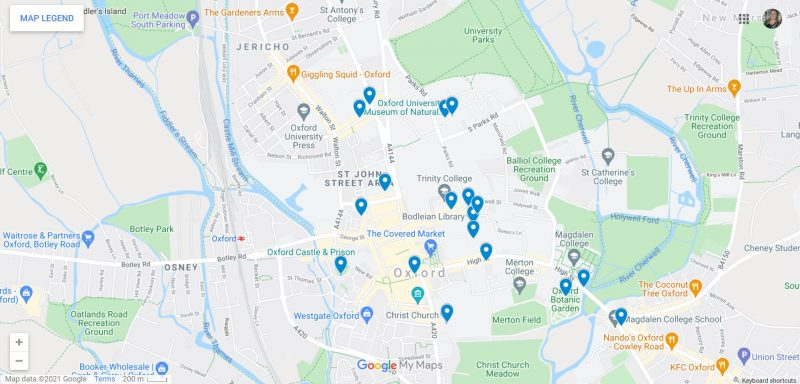 Map of Things to do in Oxford