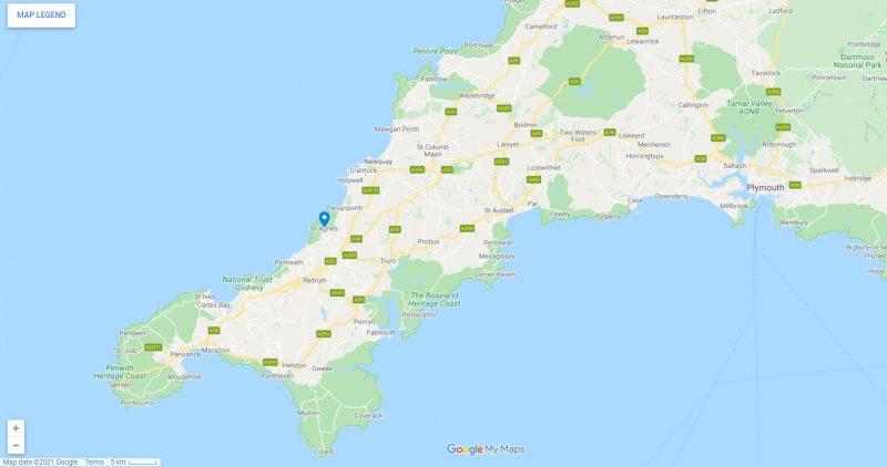 St Agnes Cornwall Map